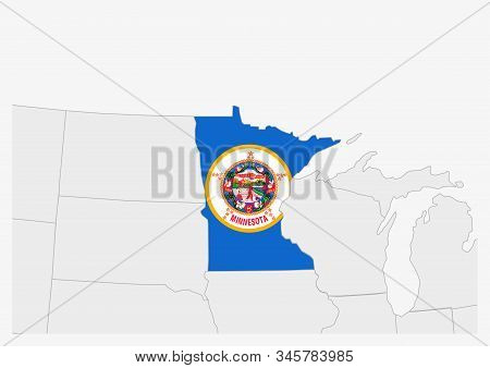 Us State Minnesota Map Highlighted In Minnesota Flag Colors, Gray Map With Neighboring Usa States.