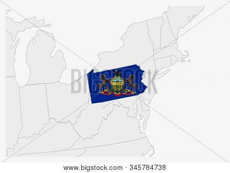 Us State Pennsylvania Map Highlighted In Pennsylvania Flag Colors, Gray Map With Neighboring Usa Sta