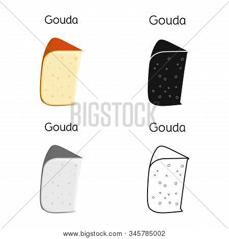 Isolated Object Of Cheese And Gouda Sign. Graphic Of Cheese And Slice Stock Symbol For Web.