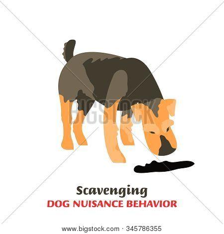 Dog Behavior Problem Icon. Domestic Animal Or Pet Language. Scavenging Terrier. Eating Everything. D