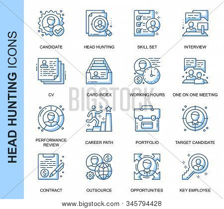 Thin Line Head Hunting Related Vector Icons Set For Website And Mobile Site And Apps. Outline Icons