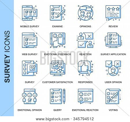 Thin Line Survey Related Vector Icons Set For Website And Mobile Site And Apps. Outline Icons Design