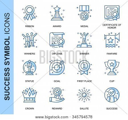 Thin Line Success Related Vector Icons Set For Website And Mobile Site And Apps. Outline Icons Desig