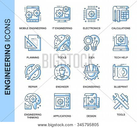 Thin Line Engineering Related Vector Icons Set For Website And Mobile Site And Apps. Outline Icons D