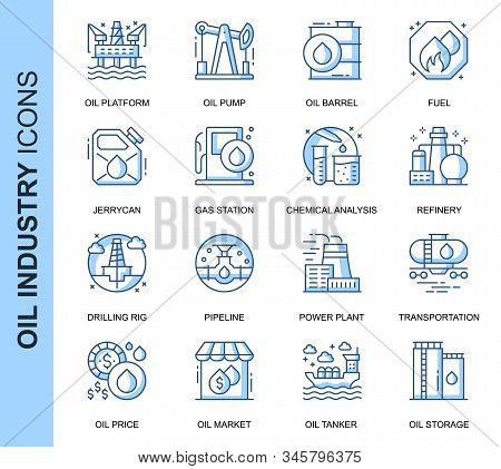 Thin Line Oil Industry Related Vector Icons Set For Website And Mobile Site And Apps. Outline Icons