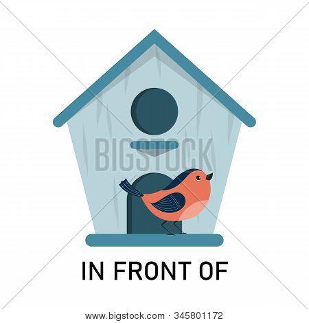 Bird And Birdhouse, Learning Preposition Vector Isolated.