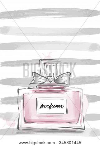 Perfume Bottle With Bow Vector Illustration Pop Art. Female Template Design. Perfume Bottle Design G