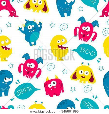 Monster Colorful Seamless Pattern Vector Isolated Illustration