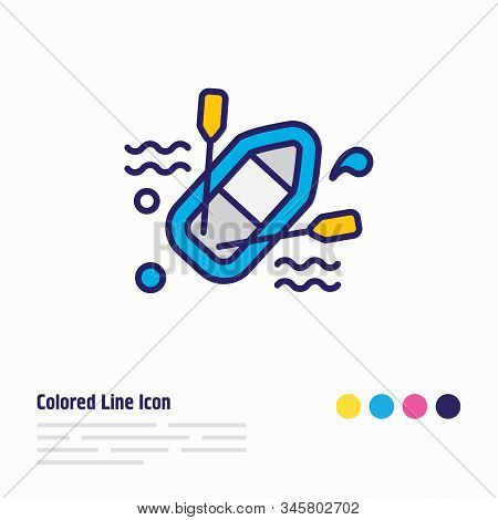 Vector Illustration Of Rubber Boat Icon Colored Line. Beautiful Naval Element Also Can Be Used As Ra