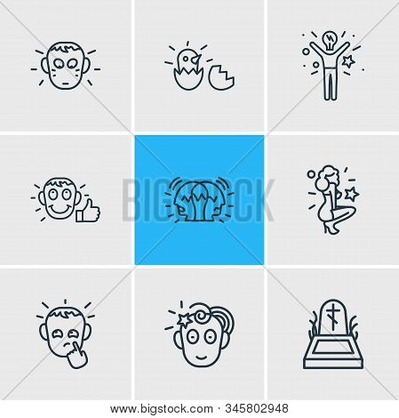 Vector Illustration Of 9 Emoticon Icons Line Style. Editable Set Of Paranoid, Satisfied, Death And O