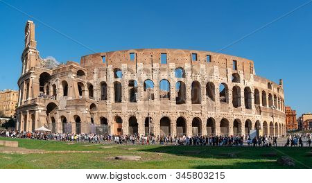 Rome, Italy - 27 October 2019: View Of Rome Colosseum In Rome, Italy.
