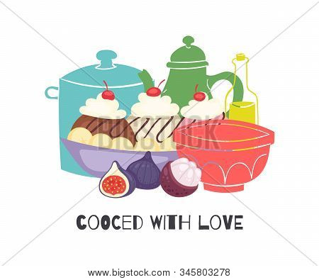 Cooked With Love Homemade Cupcakes With Cherry And Cream, Kitchen Pots And Figs Isolated On White Ve