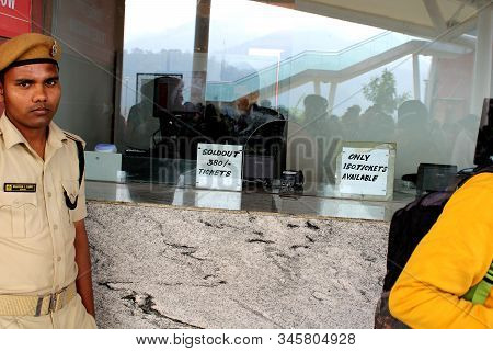 Kevadia, Gujarat - December 17, 2019: Statue Of Unity Ticket Counter.