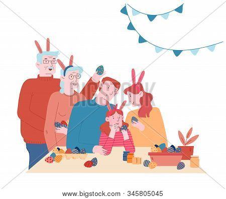 Happy Family Prepare For Easter Celebration. Parents, Grandparents And Little Girl In Rabbit Ears Pa