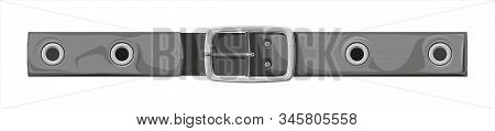 Fastened Belt - Illustration On A White Background. Item Of Clothing For Trousers Or Skirts. Leather