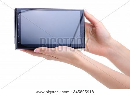 Car Stereo System Touch Screen In Hand On White Background Isolation