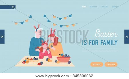 Happy Family Prepare For Easter Celebration Website Landing Page. Grandmother, Mother And Little Gir