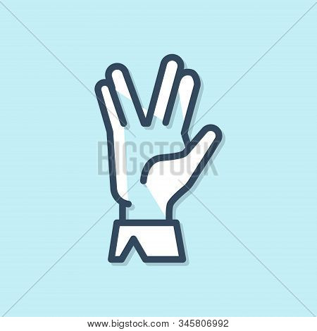 Blue Line Vulcan Salute Icon Isolated On Blue Background. Hand With Vulcan Greet. Spock Symbol. Vect