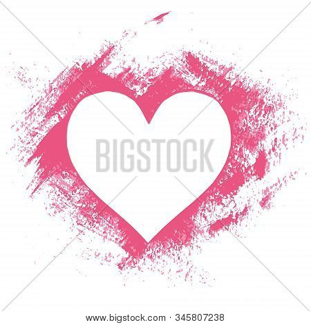 Hand Paint Acrylic Stencil Heart In Grunge Style, Frame For Greeting Card, Banner, Invitation