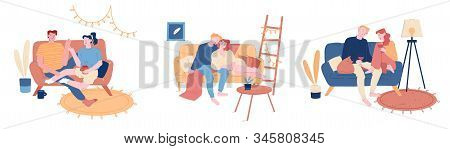 Loving Couples Set. Young Heterosexual People In Love Spend Time Together, Man And Woman Hugging On