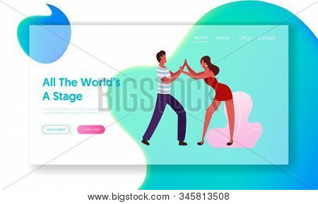 Happy Leisure And Hobby Sparetime Website Landing Page. Young People Dancing Samba On Brazil Dance D