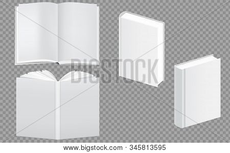 Set Of Blank Book Cover Template. Closed And Open Vertical Book, Magazine Or Notebook Mockup. Blank