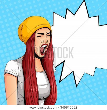 Pop Art Vintage Poster Comic Girl With Speech Bubble. Pretty Girl Announcing, Shouting Or Yelling