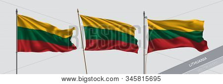Set Of Lithuania Waving Flag On Isolated Background Vector Illustration. 3 Lithuanian Wavy Realistic