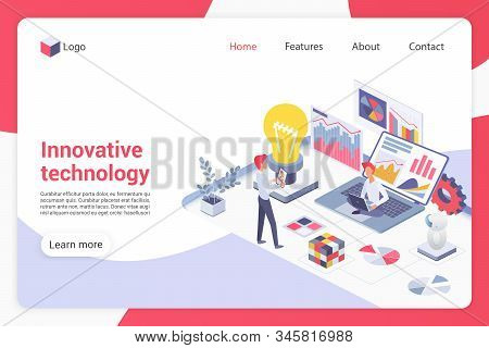 Innovative Technology Isometric Landing Page Vector Template. Male Programmers Faceless Characters.