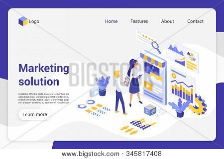 Marketing Solution Isometric Landing Page Vector Template. Analytics Department, Businessman And Bus