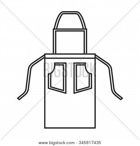 Kitchen Apron Vector Icon.line Vector Icon Isolated On White Background Kitchen Apron .
