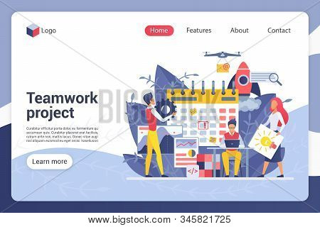 Teamwork Project Landing Page Vector Template. Company Department Harmonious Work, Duties Distributi