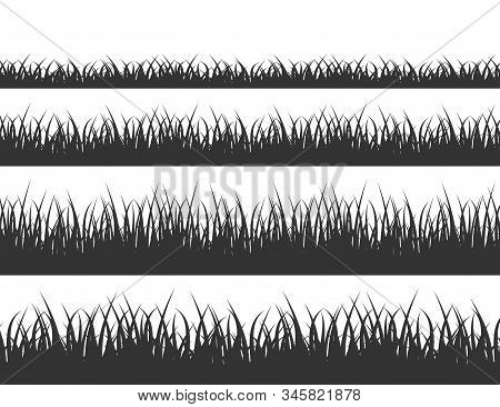 Green Grass Meadow Border Vector Pattern. Grass Background Vector Illustration