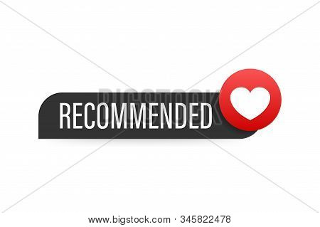 Recommend Icon. Red Label Recommended On Red Background. Vector Stock Illustration.