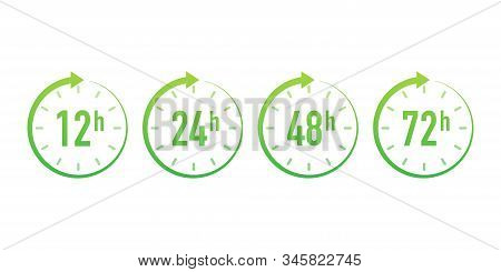 12, 24, 48, 72 Hours Clock Arrow. Work Time Effect Or Delivery Service Time. Vector Stock Illustrati