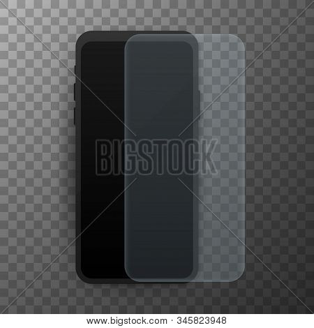 Vector Screen Protector Film Or Glass Cover. Screen Protect Glass. Realistic Smartphone Vector Stock