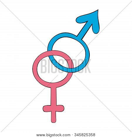 Color Vector Illustration Of The Symbol Of Heterosexuality. Male And Female.  Signs On An Isolated B