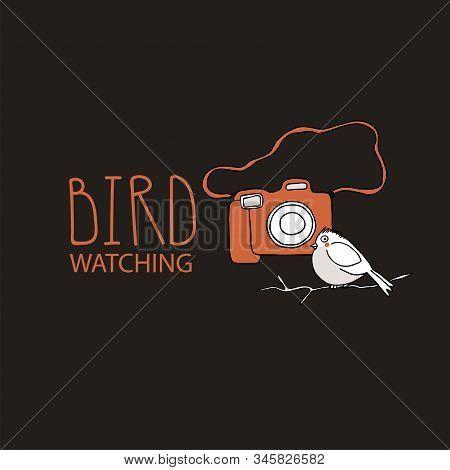 Birdwatching And Ornithology Concept. Bird Watching Icon, Logo, Emblem. Birding Vector Illustration