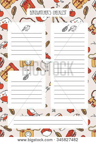 Cute Checklist For Birdwatcher And Ornithologist With Colorful Background. Funny Printable Planner F