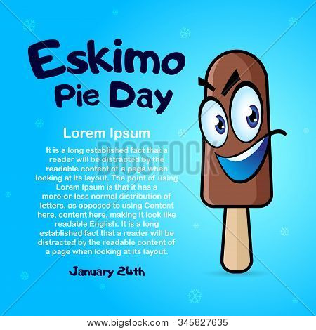 January 24 International Eskimo Pie Day. Square Banner With Place For Text, Flyer, Card. Cartoon Pop