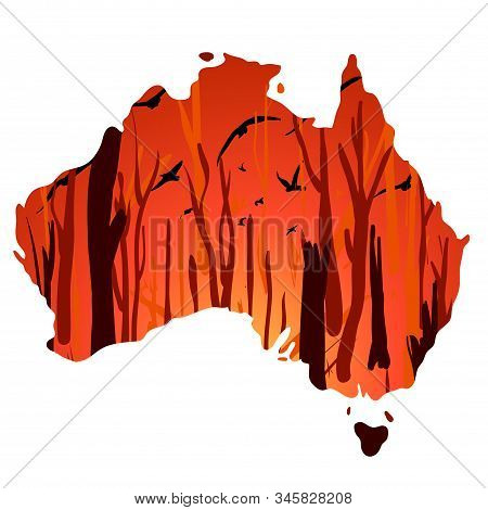Landscape With Wildfire And Flying Birds, In Australia Outline Silhouette. Vector Cartoon Illustrati