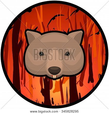 Weeping Wombat Icon On A Burning Australian Forest Background. Cartoon Vector Illustration