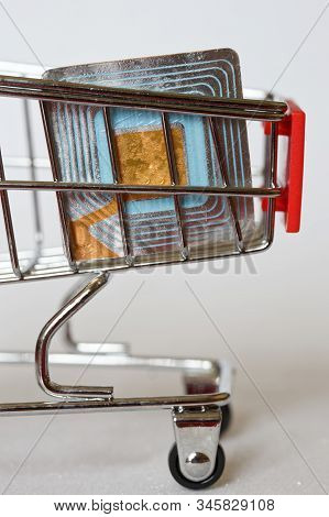 The Rfid Tag Lies In The Metal Trolley From The Supermarket. Shoplifting Prevention. Goods Security