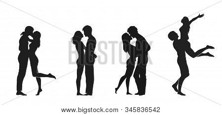 Couple In Love Icon Set. Valentines Day Design Element. Love Symbol. Isolated Vector Silhouette Imag