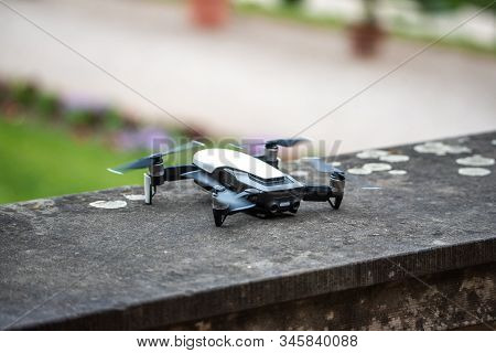 Drone Copter Flying With Digital Camera.drone With High Resolution Digital Camera. Flying Camera Tak