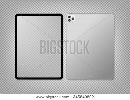 Empty Screen Realistic New Tablet Computer Mockup Design. Modern Tablet Pc Isolated On Transparent B