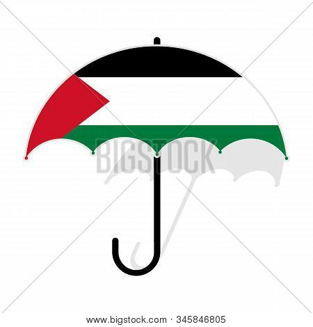 Palestine Flag Umbrella. Social Security Concept. National Flag Of Palestine Vector Illustration