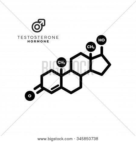 Testosterone Male Sex Hormone Molecule. Isolated Vector Illustration