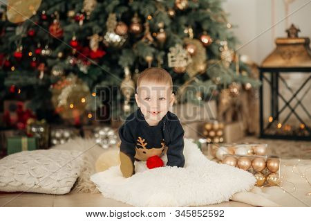 Stock Photo - Portrait of beautiful little boy in the Christmas tree decorations