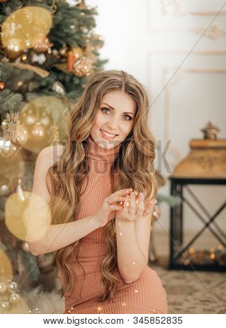 Stock Photo - Happy Beautiful Women In Christmas Decorations